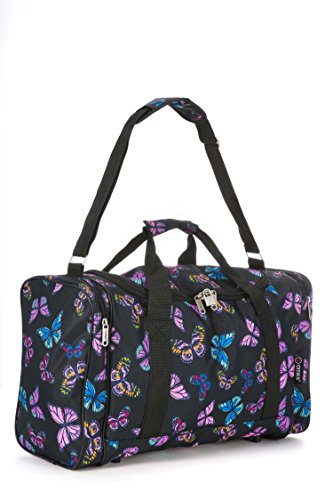 western-gear-lightweight-hand-luggage-cabin-sized-sports-duffel-holdall-butterflies-black