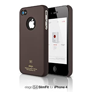 elago S4 Slim Fit Case for iPhone 4 (Soft Feeling) - SF Chocolate + Logo Protection Film included