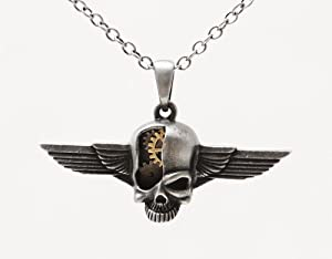 Steampunk Cyborg Skull Wings Clockwork Necklace Gearwork Alloy Jewelry