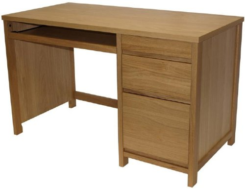 Alphason Oak Desk with Large Drawers and Sliding Keyboard Shelf