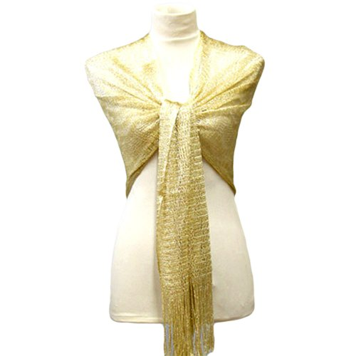 Swirled Gold Weave Classic Metallic Shoulder Shawl Wrap