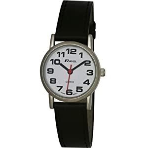 Ravel Large Case Fashion on PU Strap Women's Quartz Watch with White Dial Analogue Display and Black Plastic Strap R0105.06.2