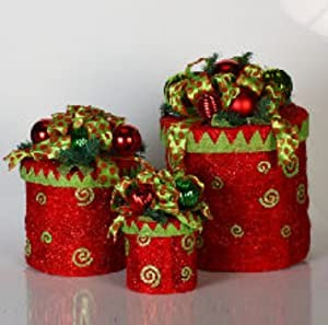 Set of 3 Red Green Round Sisal Gift Boxes Lighted Christmas Yard Art Decorations