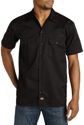 Dickies Men's Short Sleeve Work Shirt, Black, Medium