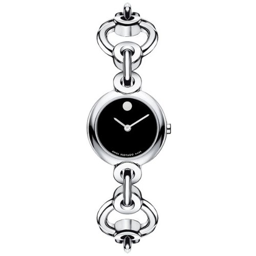 MOVADO Watch:Movado Women's 0606487 Circlo Stainless Steel Black Museum Dial Bracelet Watch Images