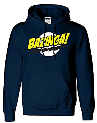 "SnS Online Mens Boys Womens Ladies Girls Unisex Bazinga Hoodies Hooded Sweatshirt Pullover Hoodie Sweat Hoody Casual Sports - Navy Blue - L - Chest : 42"" - 44"""