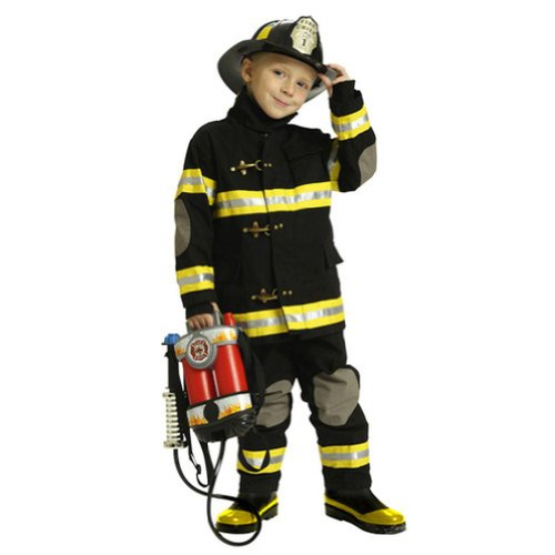 Aeromax Little Boys Black Firefighter Halloween Costume Outfit 6/8