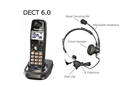 Panasonic DECT 6.0 2-Line Accessory Handset for KX-TG9391T, KX-TG9392T, KX-TG9381T, KX-TG9321T KX-TG9322T and KX-TG9382T *** WITH FREE HEADSET ***