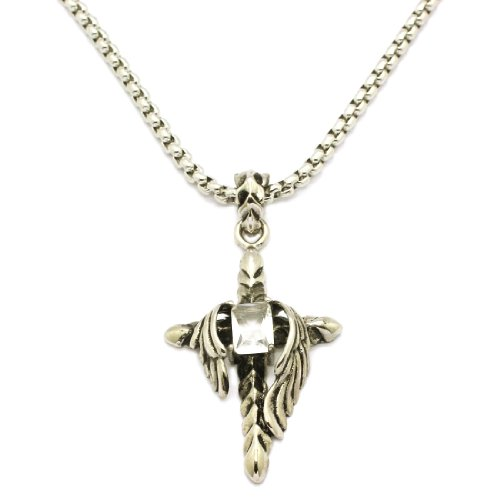 2 PIECE SET: Vintage 19-Inch Stainless Steel Rolo Chain Necklace Rhinestone Inlaid Winged Cross Pendant (LIFETIME WARRANTY)