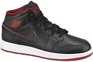 Nike, Men, Sports Shoes, air jordan 1 mid, black (black/black-white-gym red),8.5 UK