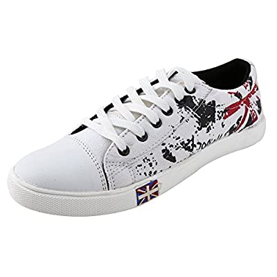 Freedom Daisy Pair Of White Men Lace-Up Style Canvas Shoes