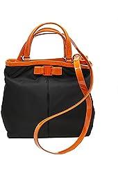 Ferragamo Women's Nylon/Leather Tote Bag W/Strap Nero