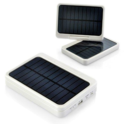 "7000Mah Solar Power Bank + Led Light ""Solar Charger"" - 2X Solar Panels, 4X Connectors"