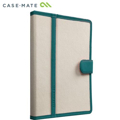 Case-Mate 日本正規品 iPad Retinaディスプレイモデル (第4世代) / iPad (第3世代) / iPad 2 対応 Slim Stand Case Trimmed Canvas, Emerald / White スタンド機能つき ブックタイプ スリムスタンド ケース 「トリム キャンバス」 エメラルド/ホワイト CM020576