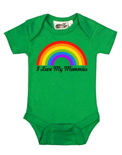 I Love My Mommies Rainbow Green One Piece 0-3 Months front-936764