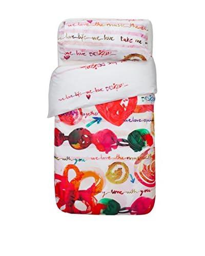 Desigual Bettdecke und Kissenbezug Stain weiß/rot/mehrfarbig 160 x 220 cm + 50 x 110 cm