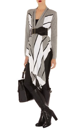 Draped Front Striped Cardigan