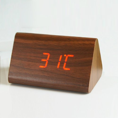 Kabb Wood Grain Led Alarm Clock - Time Temperature Date - Display Sound Activated - Brightness Adjustable (Brown Coating, Red)