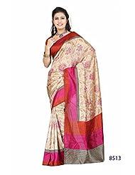 Gorgeous Cream Bhagalpuri Printed Art Silk Saree