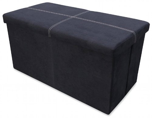 Ottoman - Large Folding Storage Black Faux Suede Pouffe Two Seater Stool Box Home Storage Furniture