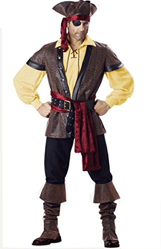 NonEcho Men's Halloween Costume Pirate Caribbean Adult Costume