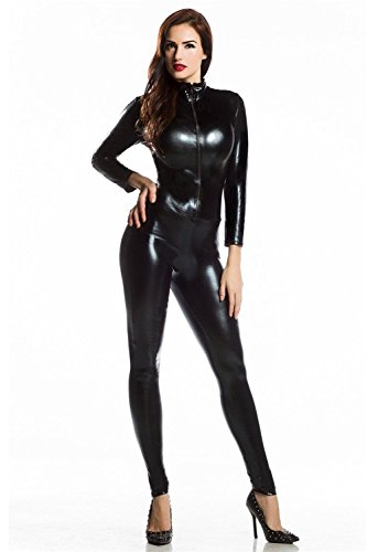 L04BABY Blk /Red Goth PU Faux Leather Catsuit Teddy Zipperfront Clubwear