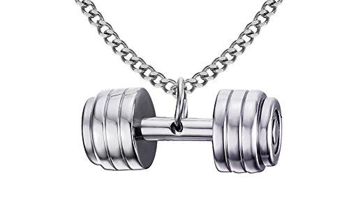 LianDuo Acciaio inossidabile manubri bilanciere della collana del pendente Gym Fitness monili delle donne Argento,la catena libera maschile