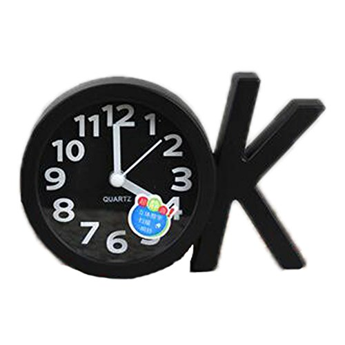 Mini Battery Operated chevet numérique Silent Alarm Clock OK-forme Noir