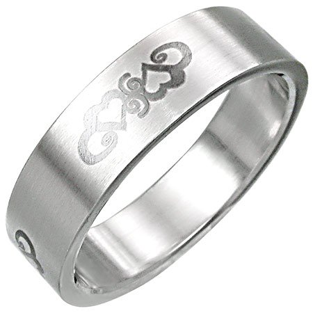 Two Hearts Promise Band Stainless Steel Ring-10