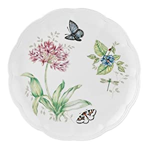 Lenox Butterfly Meadow Bone Porcelain Blue Butterfly Dinner Plate