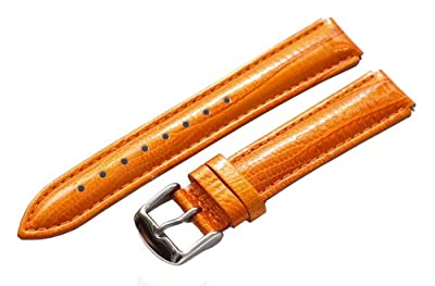 Clockwork Synergy® - 20mm x 18mm - Orange Lizard Grain Leather Watch Band fits Philip stein Large