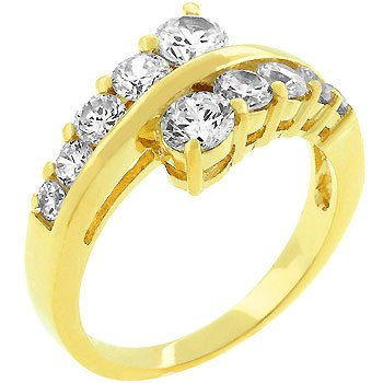 14K Gold Plated Cubic Zirconia Prong Set Anniversary Ring in Size 8