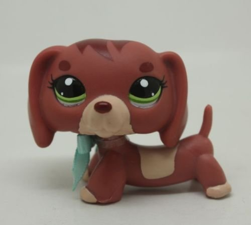 Superb good Littlest Pet Shop#3601 Dachshund Dog Puppy Green Eyes Figure Toy LPS (Lps Bulldog Puppy compare prices)