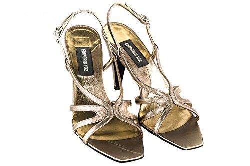 Scarpe donna EMPORIO sandalo elegante N.35 tacco e fibbia platino in pelle X1067