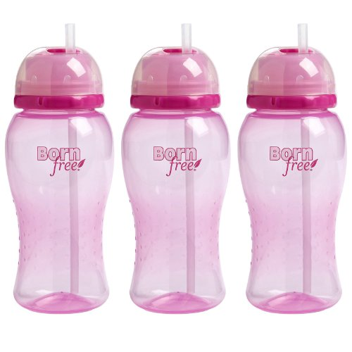 Born Free Twist 'N Pop 14 Ounce Straw Cup - Pink, 3 Pack