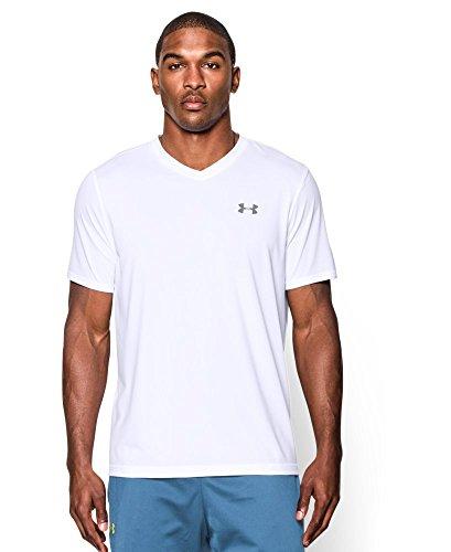 Under Armour Men's Tech V-Neck T-Shirt, White/Steel, Small