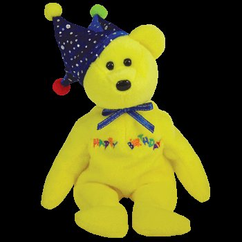 TY Beanie Baby - HAPPY BIRTHDAY the Bear ( Yellow - w/ Hat ) - 1