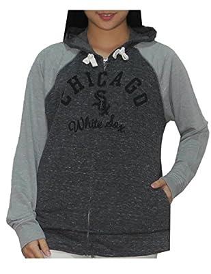 MLB Womens Chicago White Sox Athletic Zip-Up Vintage Look Hoodie
