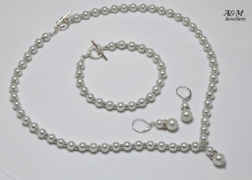 Ivory color faux glass pearls jewelry jewellery set Necklace Bracelet Bridal Weddings