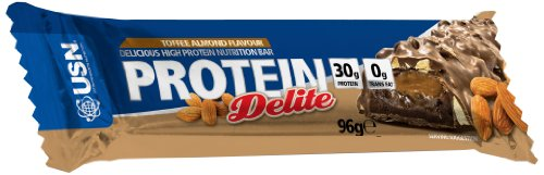USN Protein Delite 96 g Toffee Almond High Protein Snack Bars - Box of 12