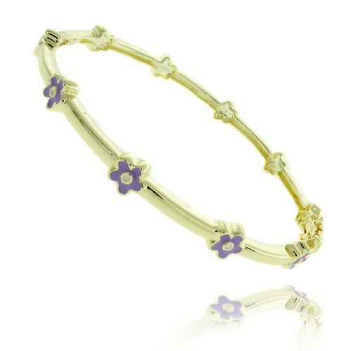 Lily Nily 18k Gold Overlay Lavender Enamel Flower Design Children's Bangle