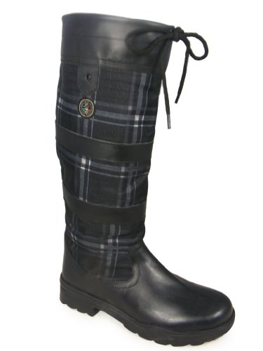 Ladies HKM Long Black Horse Riding Walking Leather Country Boots Size 4