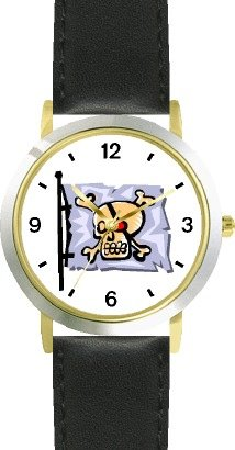 Pirate Skull & Crossbones Flag - Pirate Theme - Watchbuddy® Deluxe Two-Tone Theme Watch - Arabic Numbers - Black Leather Strap-Children'S Size-Small ( Boy'S Size & Girl'S Size )