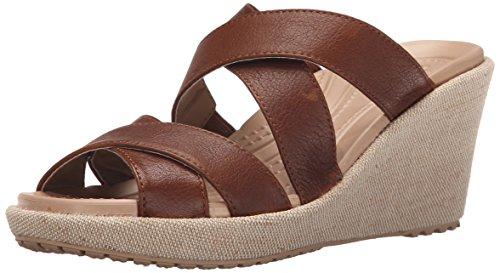 Crocs Women's A-Leigh Crisscross W Wedge Sandal, Hazelnut/Chai, 9 M US