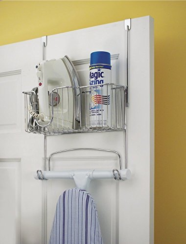 mDesign Ironing Board Holder with Storage Basket for Clothing Iron - Wall Mount/Over Door, Chrome (Ironing Board Shelf compare prices)