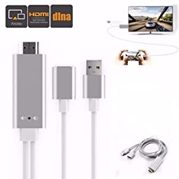 M.Way Aluminium Universal MHL Micro USB to HDMI Cable 6Ft 3 in 1 HD 1080P Type-C Miracast AirPlay Mirroring/ HDTV Adapter for iphone5 5S 6 6S SE 7 7plusSamsung S5 S6 S7 Android iOS Smart Phone Tablet