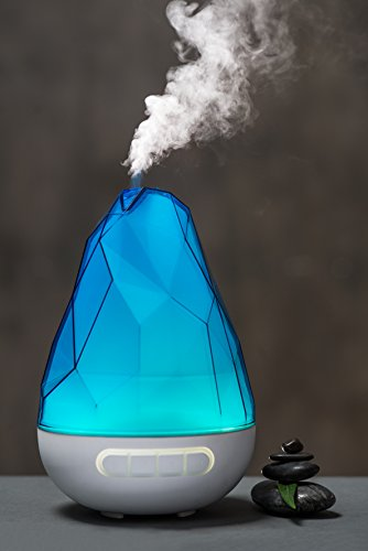 "Essential Oil Aromatherapy Diffuser, ""QUOOZ® ROCKANO"" Ultrasonic Aroma Diffuser and Humidifier, Long Run- Time with Strong Mist Setting, Adjustable Light, Auto Shut- Off (Blue)"