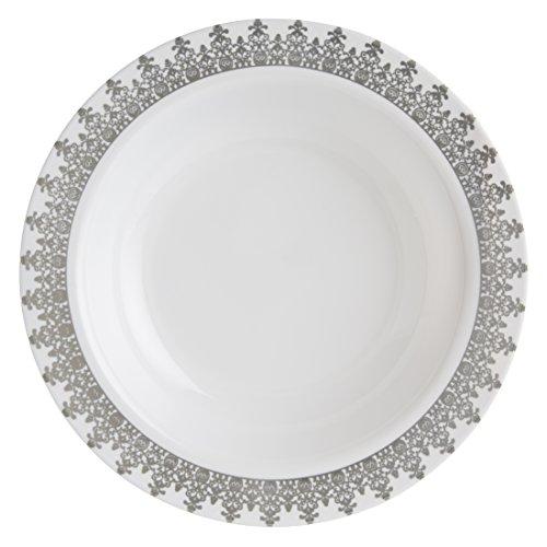 Decorline-Vaisselle de luxe à usage unique-Couleur blanc avec bord motif argent gaufré -Party-jetable -plastique rigide-Ornament Collection (Assiette à soupe 400ml)