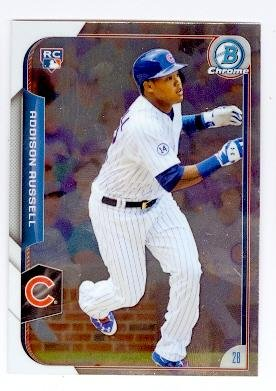 Addison Russell baseball card (Chicago Cubs) 2015 Topps Bowman Chrome #161 Rookie