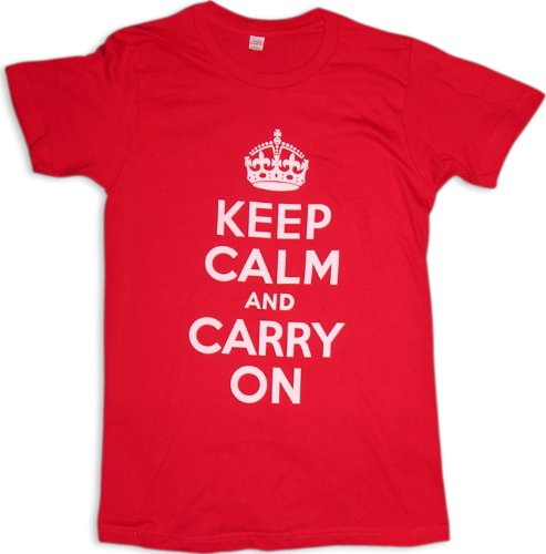 Keep Calm And Carry On T-Shirt, Red, S